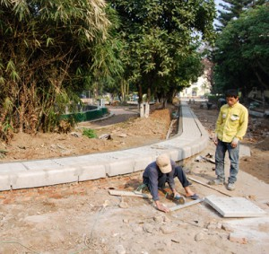Road construction underway at Village